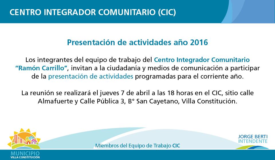 Presentación actividades CIC-01